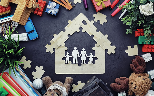 istock Background. Children's toys on the table. Space between kid's toys. 1185467017