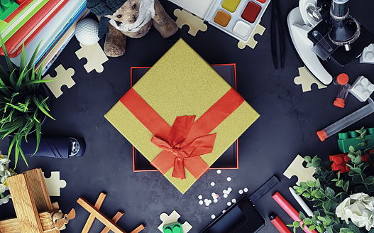 istock Background. Children's toys on the table. Space between kid's toys. 1186931038