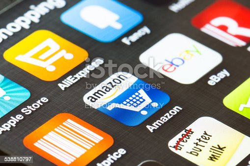 istock Background close up of shopping apps on a smartphone 538810797