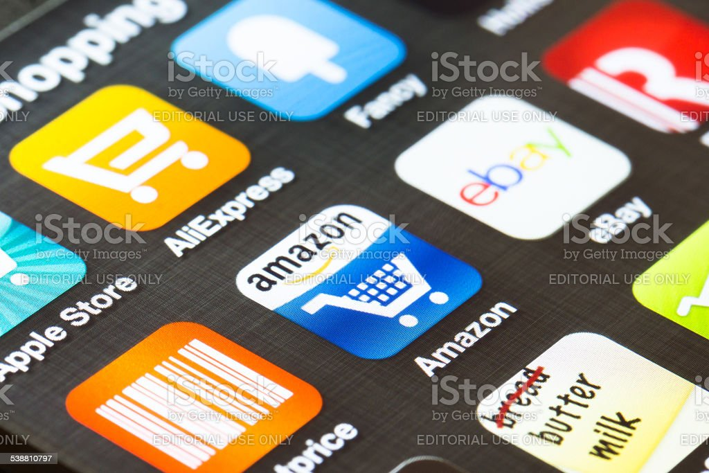 Background close up of shopping apps on a smartphone stock photo