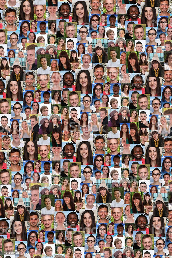 Background collage group of multiracial young people social media stock photo