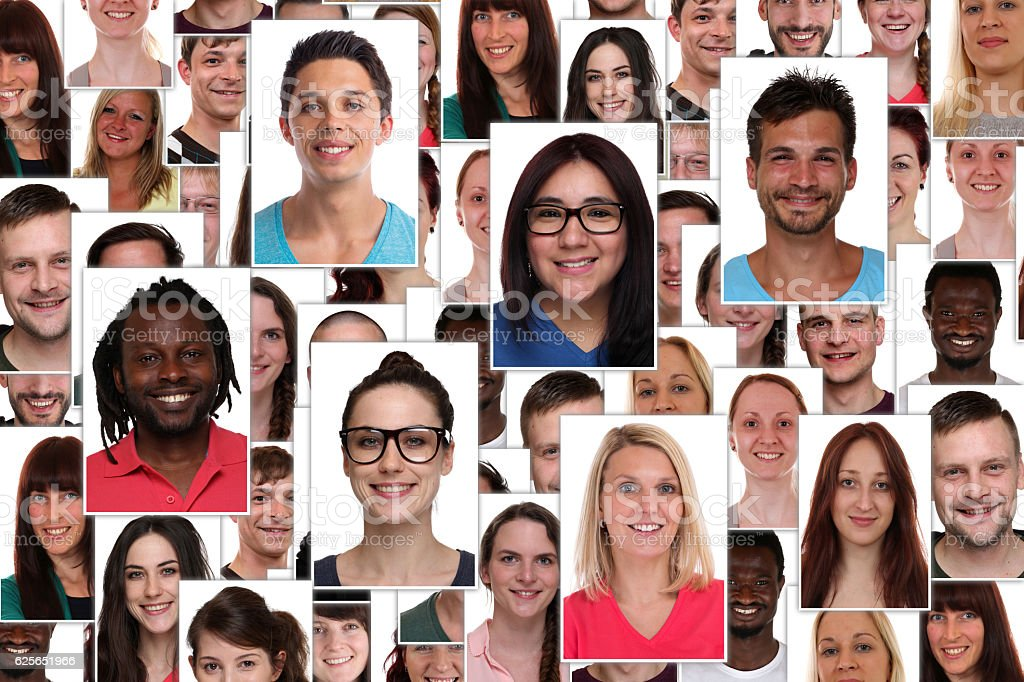Background collage group of multiracial young smiling happy people stock photo