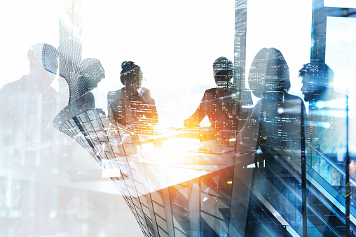 Abstract concept of business people. Double exposure effects