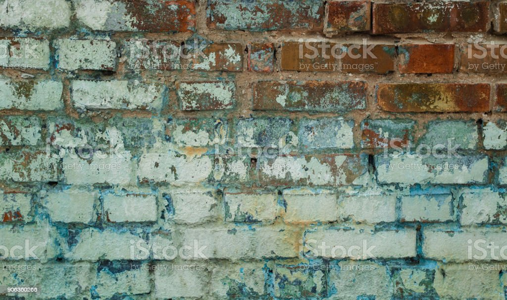 Background cracked brick wall texture. stock photo