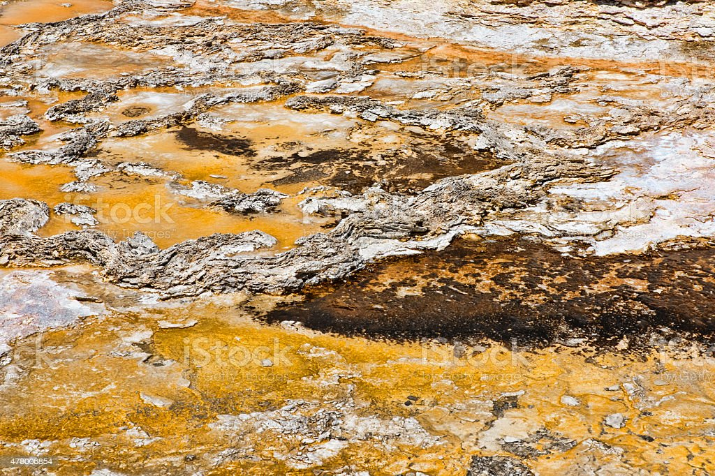 Background created by geyser and bacteria, brown, tan, gray. stock photo