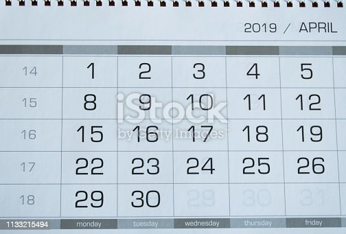 1027407218 istock photo Background dates on the calendar page April 2019 1133215494