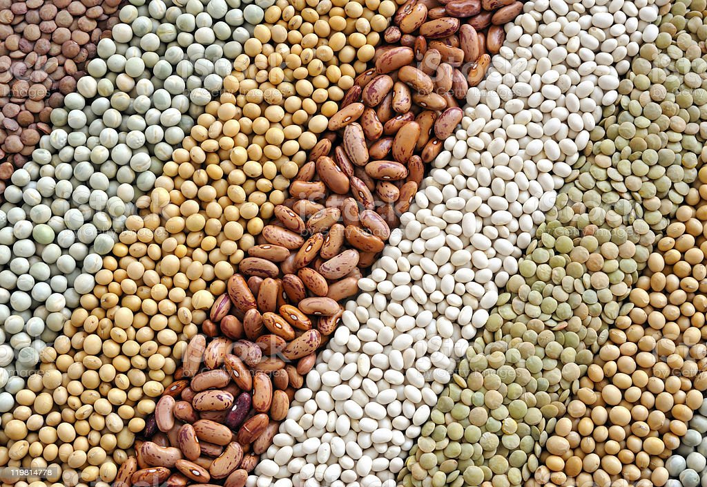 Background depicting various dried legumes stock photo