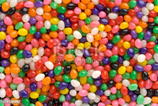 Jellybeans fill the entire frame for a colorful background. Shot can be used as a Vertical or Horizontal.