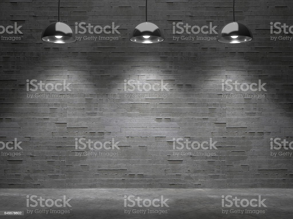 Background empty room of dark wall with light spot. stock photo