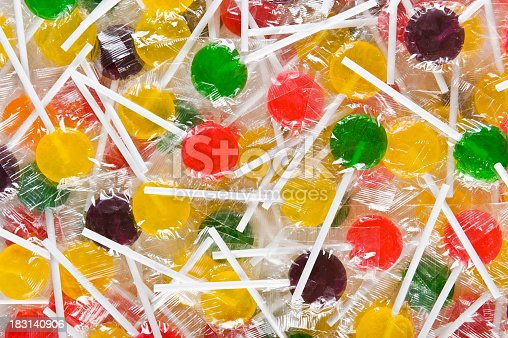Group of wrapped colorful lollipops