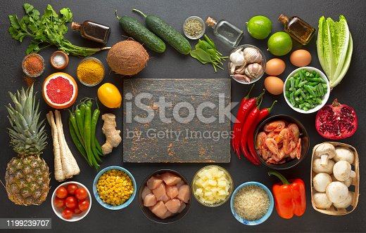Background from food products in the form of a frame with a copy space.