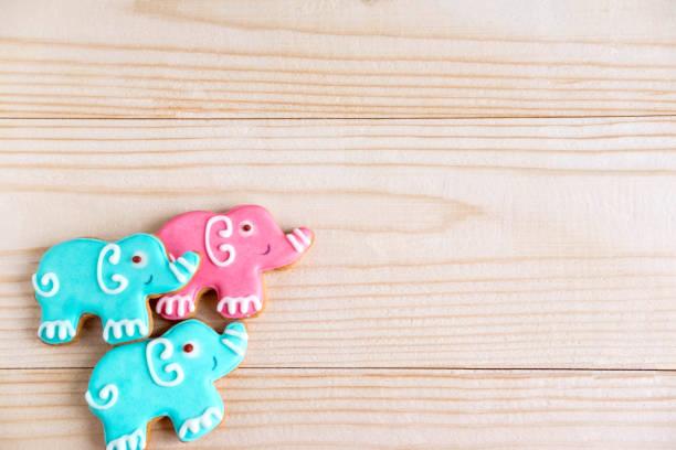 hintergrund für ein banner mit elefanten. kinder-banner. rahmen für grußkarte neugeborenen jungen. leer für kindisch banner design mit lebkuchen. - sterntaufe stock-fotos und bilder