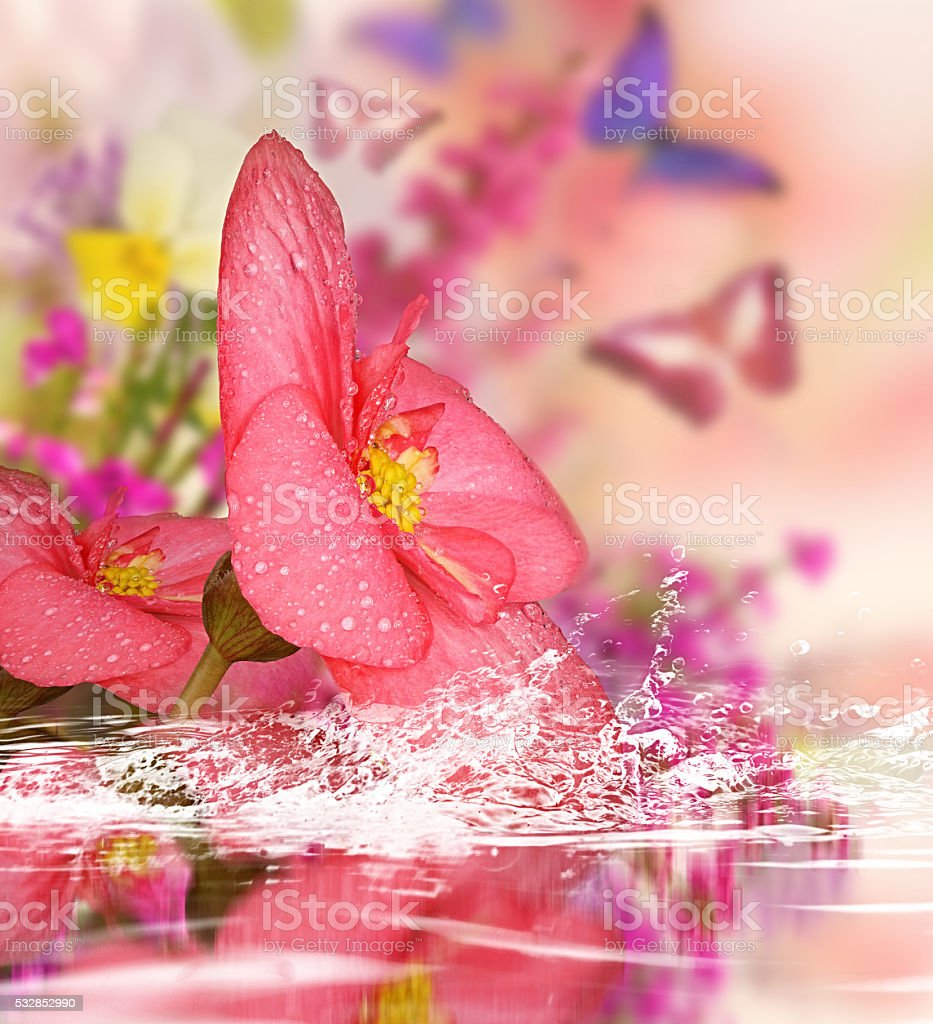 Background for design with flowers stock photo