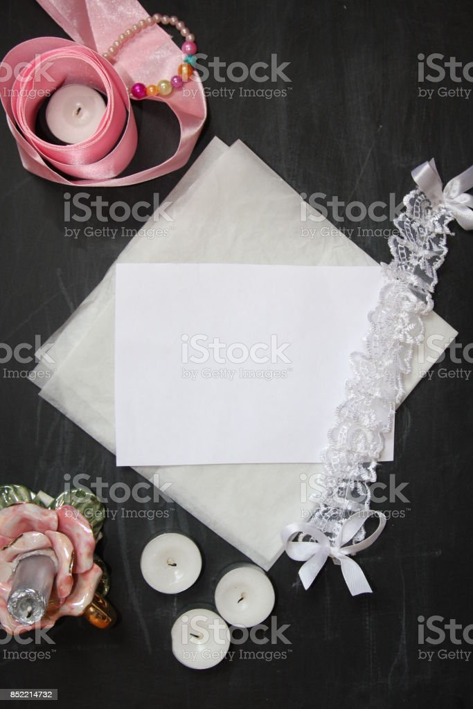 Background For Wedding Invitation With Ribbons Candle Lace And