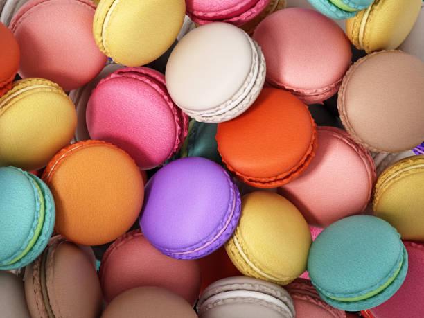 fundo formado com macarons coloridos empilhadas - macaroon - fotografias e filmes do acervo