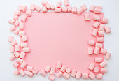 istock background frame made of marshmallows . the concept of childhood. 843581000