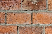 Background from a brick wall. Brickwork made of red large brick.