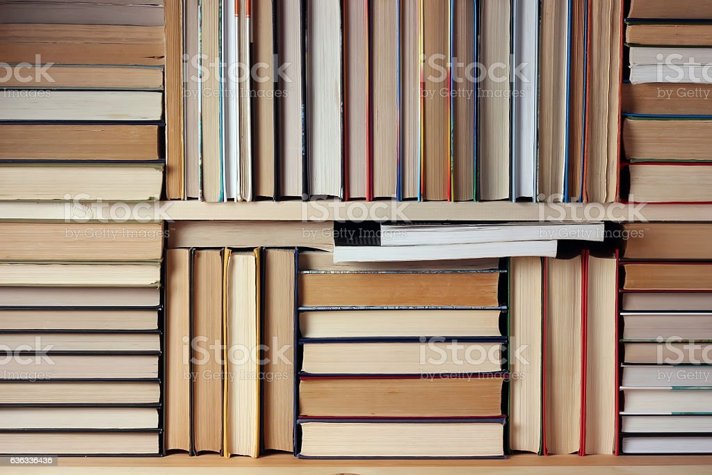 Background from books.  Books on the shelf. stock photo