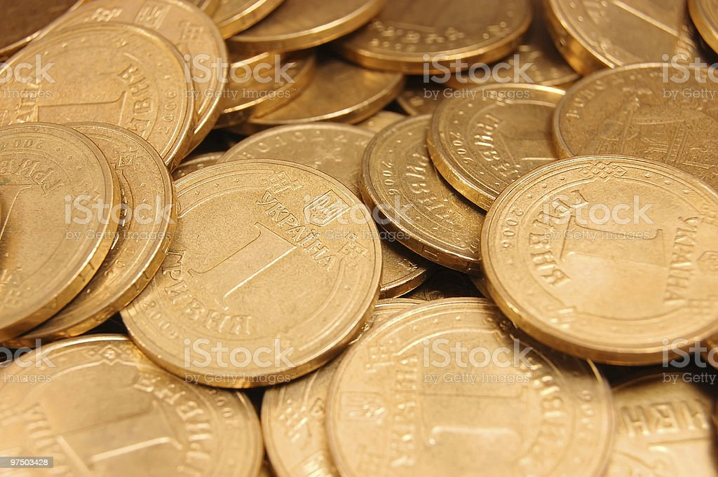 Background from coins of Ukraine royalty-free stock photo