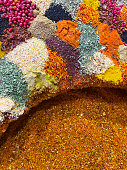Background from colored spices. Turkish national seasoning. Plate with spices.
