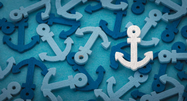 background from decorative anchors sea background from decorative color anchors closeup anchor stock pictures, royalty-free photos & images