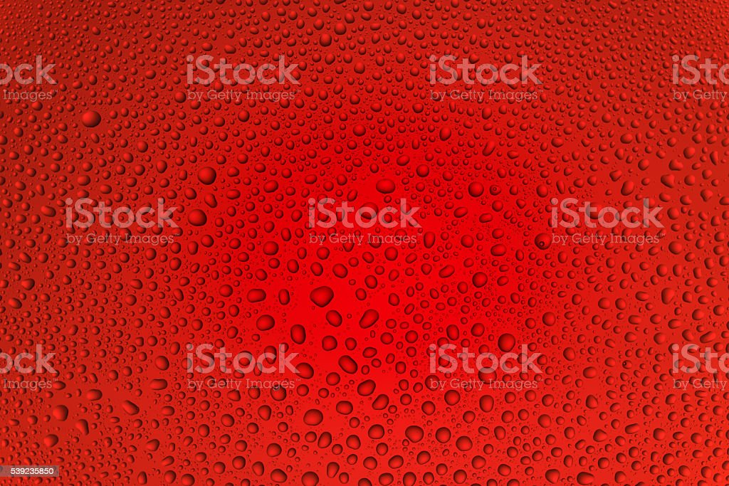 Background from drops of the different size on red glass royalty-free stock photo