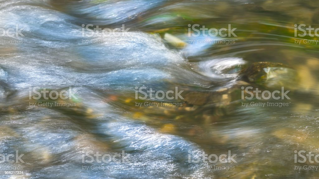 Background from flowing water surface. Artistic close-up of running swift creek stock photo