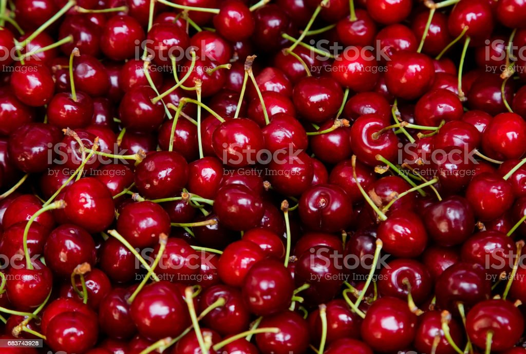 Background from fresh red cherries royalty-free stock photo