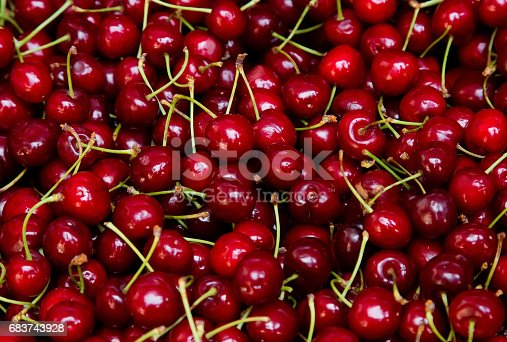 istock Background from fresh red cherries 683743928