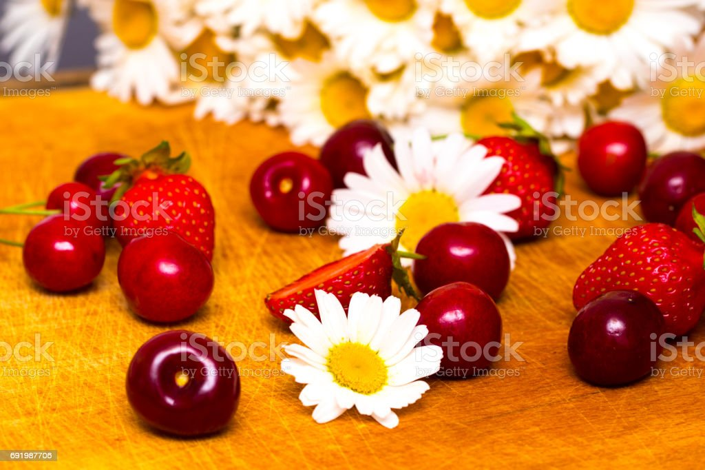 Background from fresh ripe strawberries and cherry stock photo