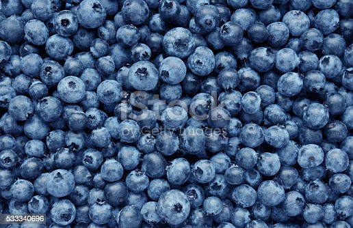 istock Background from freshly picked blueberries 533340696