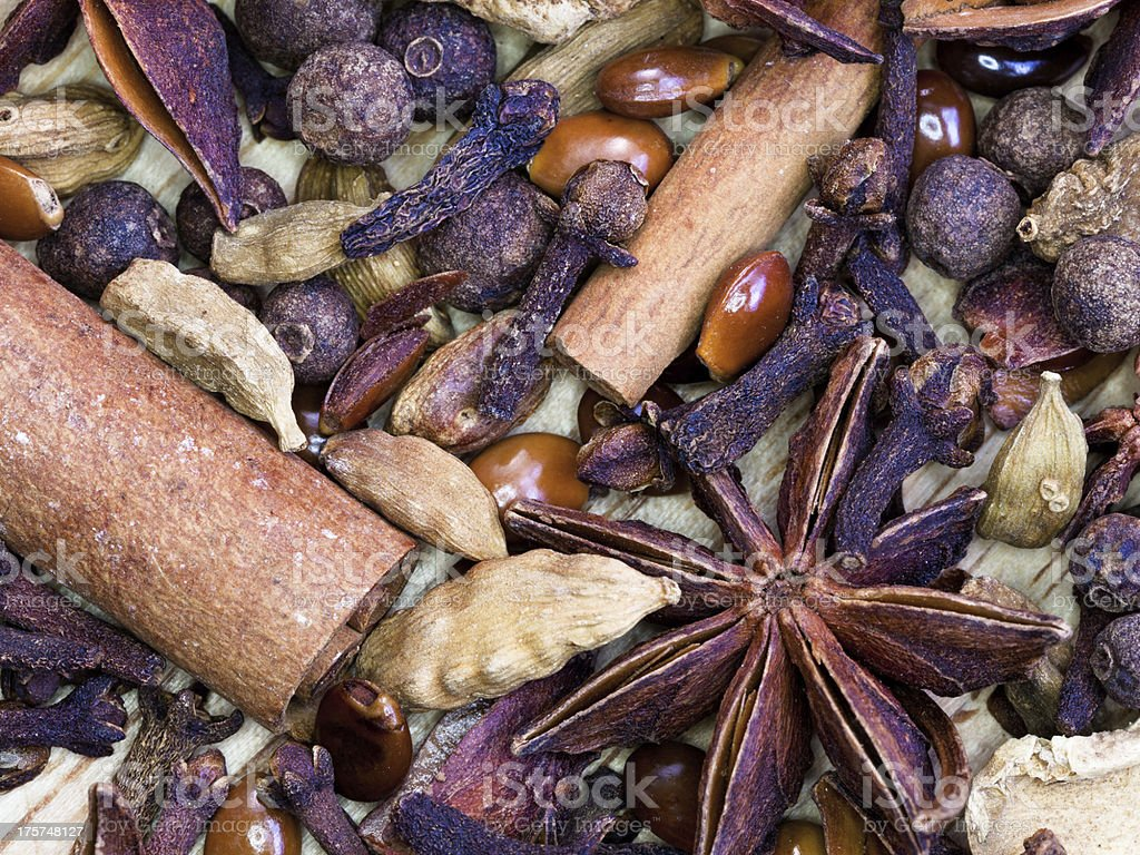 background from spices for gluhwein royalty-free stock photo