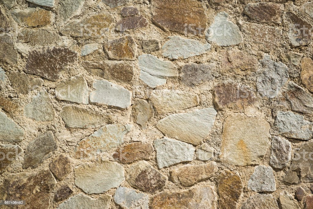 Background from the wall built from large natural stone. Texture stock photo