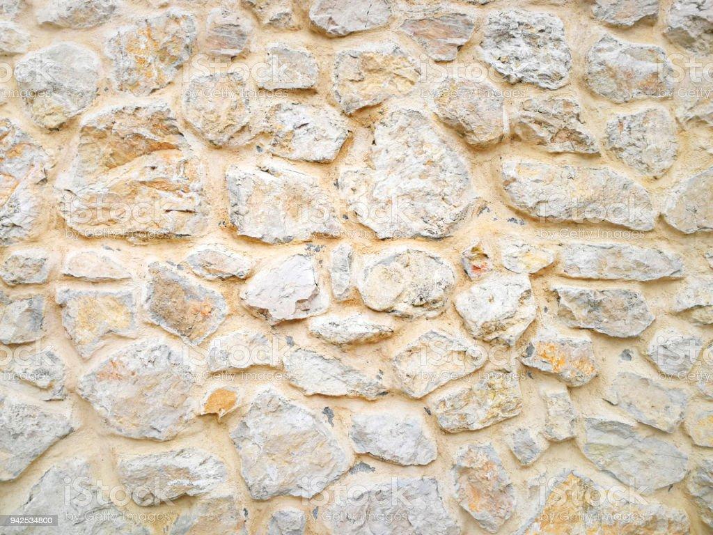 Hintergrund Von Der Wand Aus Großen Naturstein Gebaut. Textur Lizenzfreies  Stock Foto