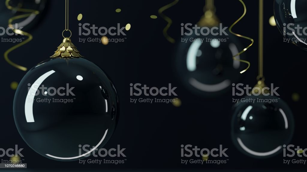 Background glass Christmas balls black background stock photo