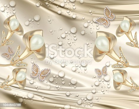 istock 3D background, gold jewelry Calla Lilly on silk 1044840788