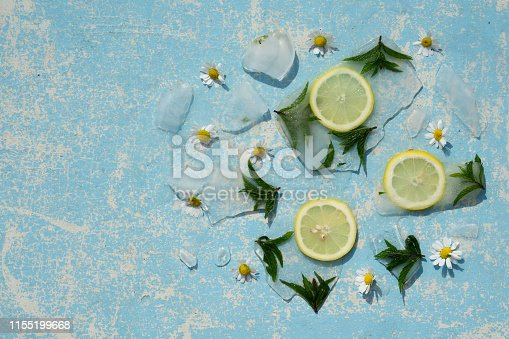 Background    green leaves of  mint  and lemon in ice   cube with air bubbles