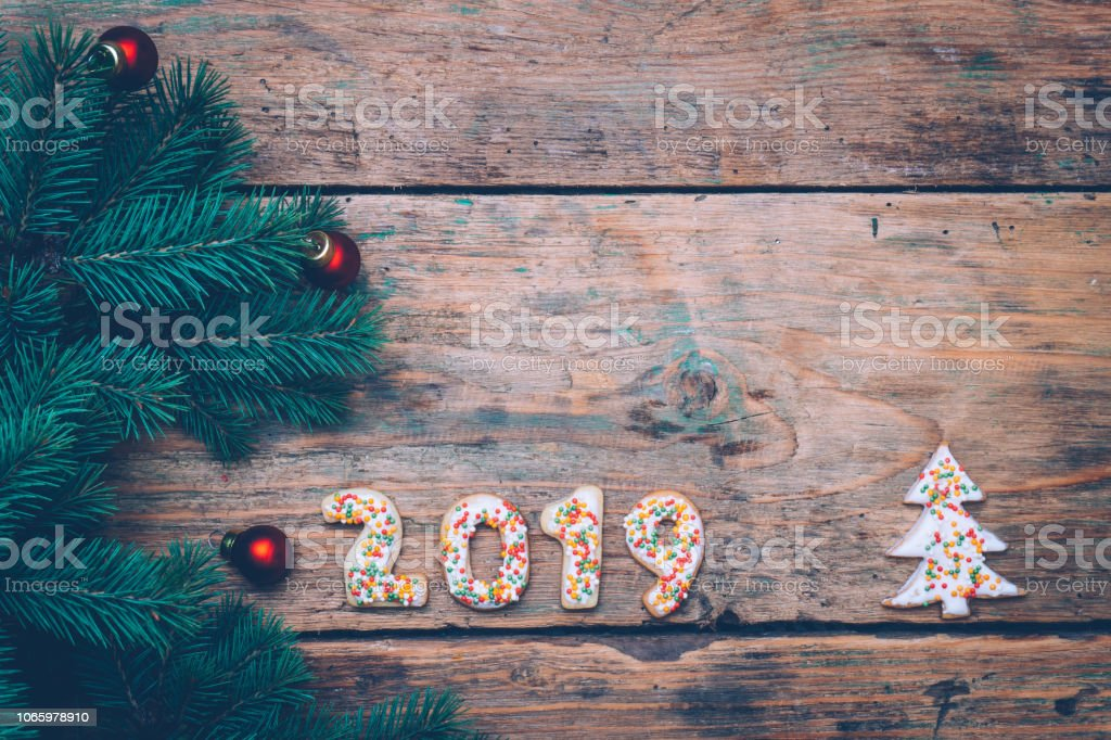 Weihnachtskekse 2019.2019 Hintergrund Happy New Jahr 2019 Weihnachtsplätzchen In Form Von