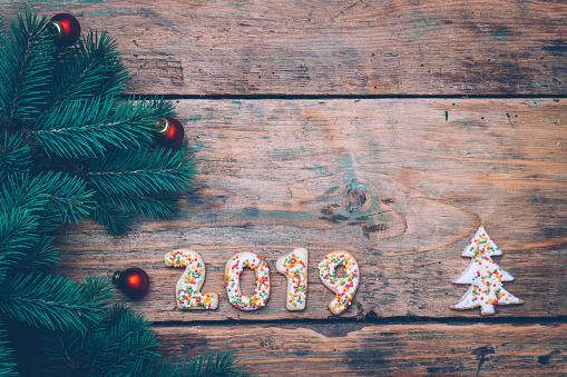 Neue Weihnachtsplätzchen 2019.2019 Hintergrund Happy New Jahr 2019 Weihnachtsplätzchen In Form Von