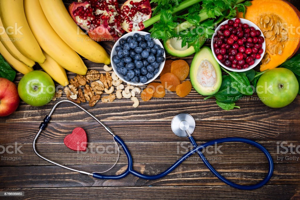 Background healthy food for heart. Healthy food, diet and life. Fresh...