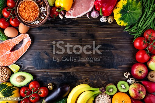 istock Background healthy food. Fresh vegetables, fruits, meat and fish on wooden table. Healthy food, diet and healthy life concept. Top view 873824348