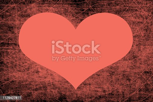 istock Background heart in the trend color 2019 Living coral 1129427811