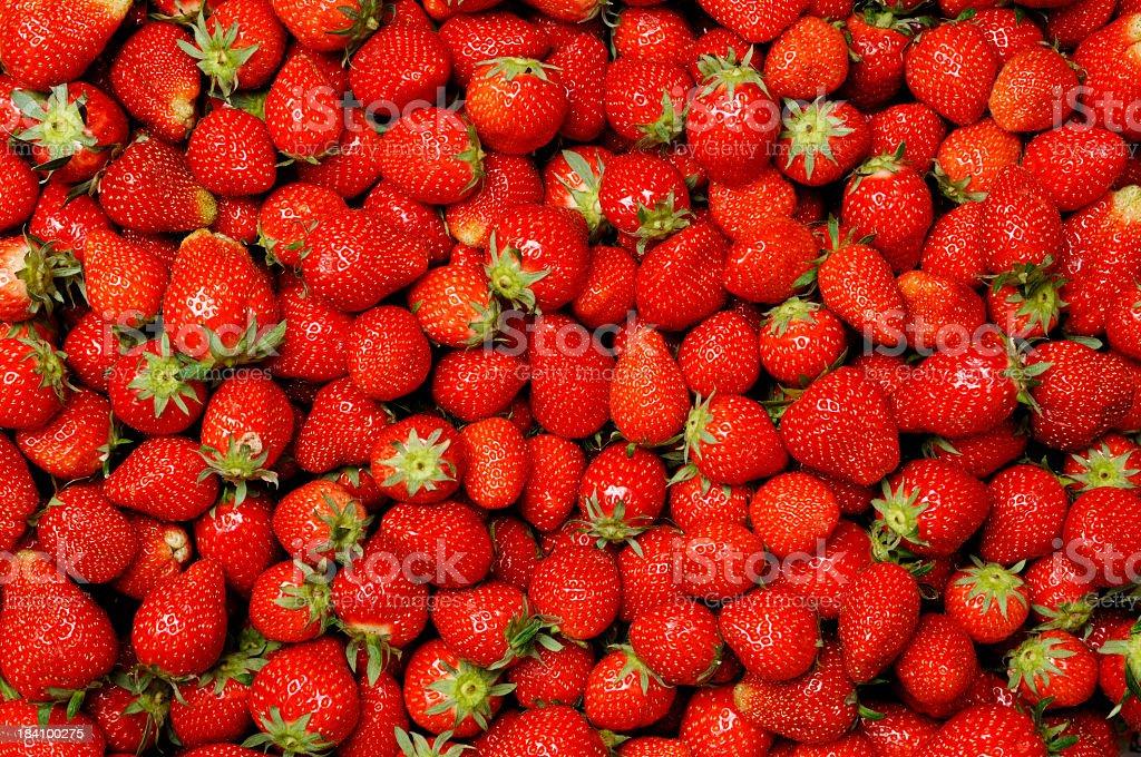 Background,  hundreds of ripe strawberries stock photo