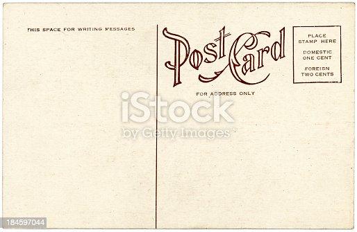 The back of an vintage postcard
