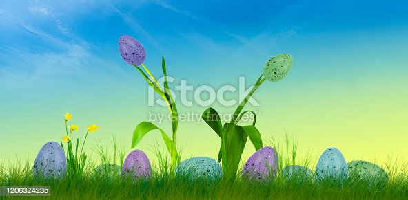 639245704 istock photo background image of a scene with easter eggs 1206324235