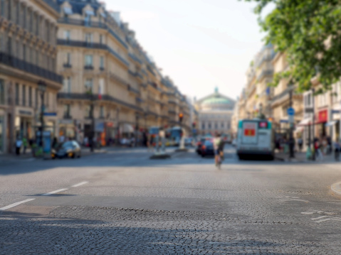 Background image of center of Paris, focus on foreground.