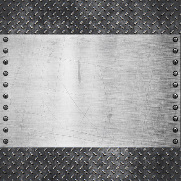 background image of metal with rivet detail - diamond plate background stock photos and pictures