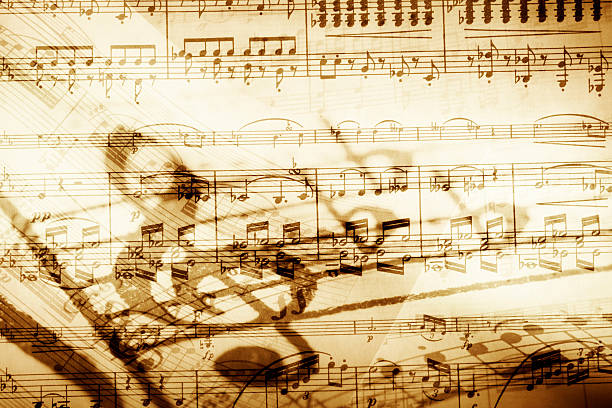 background image of music notes - classical stock photos and pictures