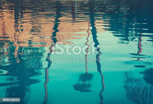 Palm Trees and Lights Reflection in Swimming Pool at Sunset