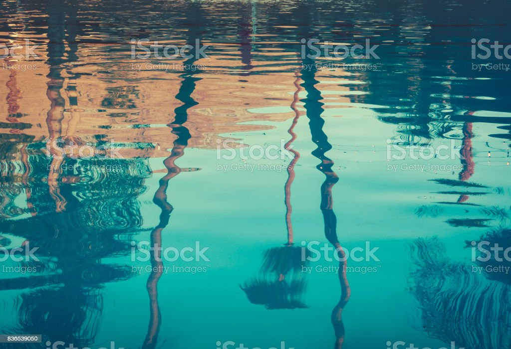 Background image of palm trees reflected in swimming pool stock photo